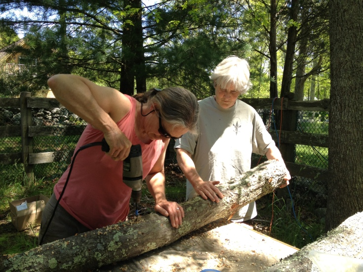Cherisse and Cathleen drilling holes